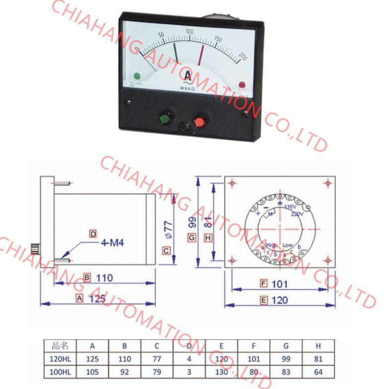 WAKO 限流控制表 CI-2H CHING YING METER REALY CH-120HL  CH-100HL CH-120H CH-100H