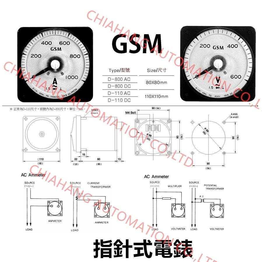 GSM 廣角電流表 電壓表  METER REALY D-800 D-110
