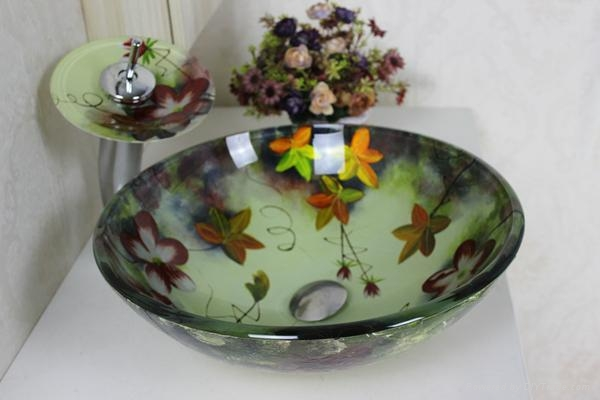 contemporary colorfull glass bowl with waterfall faucet  3