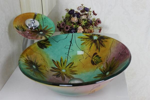 contemporary colorfull glass bowl with waterfall faucet  2