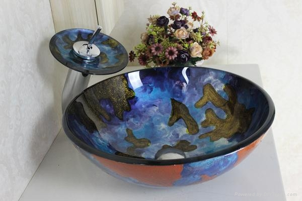 contemporary colorfull glass bowl with waterfall faucet  1