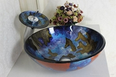 contemporary colorfull glass bowl with waterfall faucet