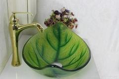 绿色森林叶子洗漱盆 树叶盆 手绘盆 热熔盆 艺术盆
