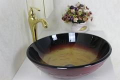 厂家直销钢化玻璃洗手盆 简约现代洗漱盆 艺术盆 手绘盆
