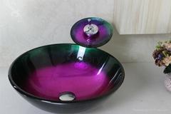 欧式地中海钢化玻璃艺术台上盆 水槽 果盘 洗漱盆 洗手盆 洗脸盆