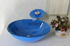 热销款钢化玻璃洗手盆 时尚手绘艺术台盆 特价促销
