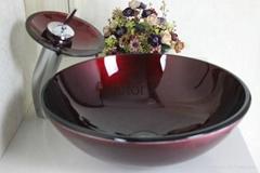 特价促销钢化玻璃洗手盆 洗漱盆 艺术盆 台上盆 面盆