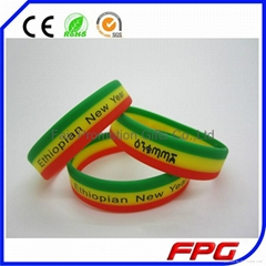 Screen Printed Christmas Silicone Wristbands