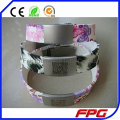 New Arrivial!!Printing Flower Bracelet With Engraving QR code