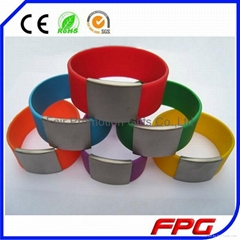 Multicolor Stainless Steel Silicone Bracelet