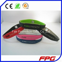 Pure Strength Energy Dual Layer Color Silicone Bracelets