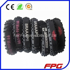 Printed logo Silicone Motorcycle Tire Bracelet
