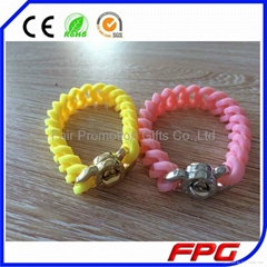 Silicone Charm Bracelet  Twist Wristband With Metal