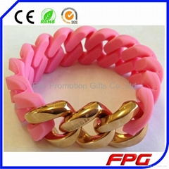 Hemp Flowers Silicone Wristbands with Link Chain
