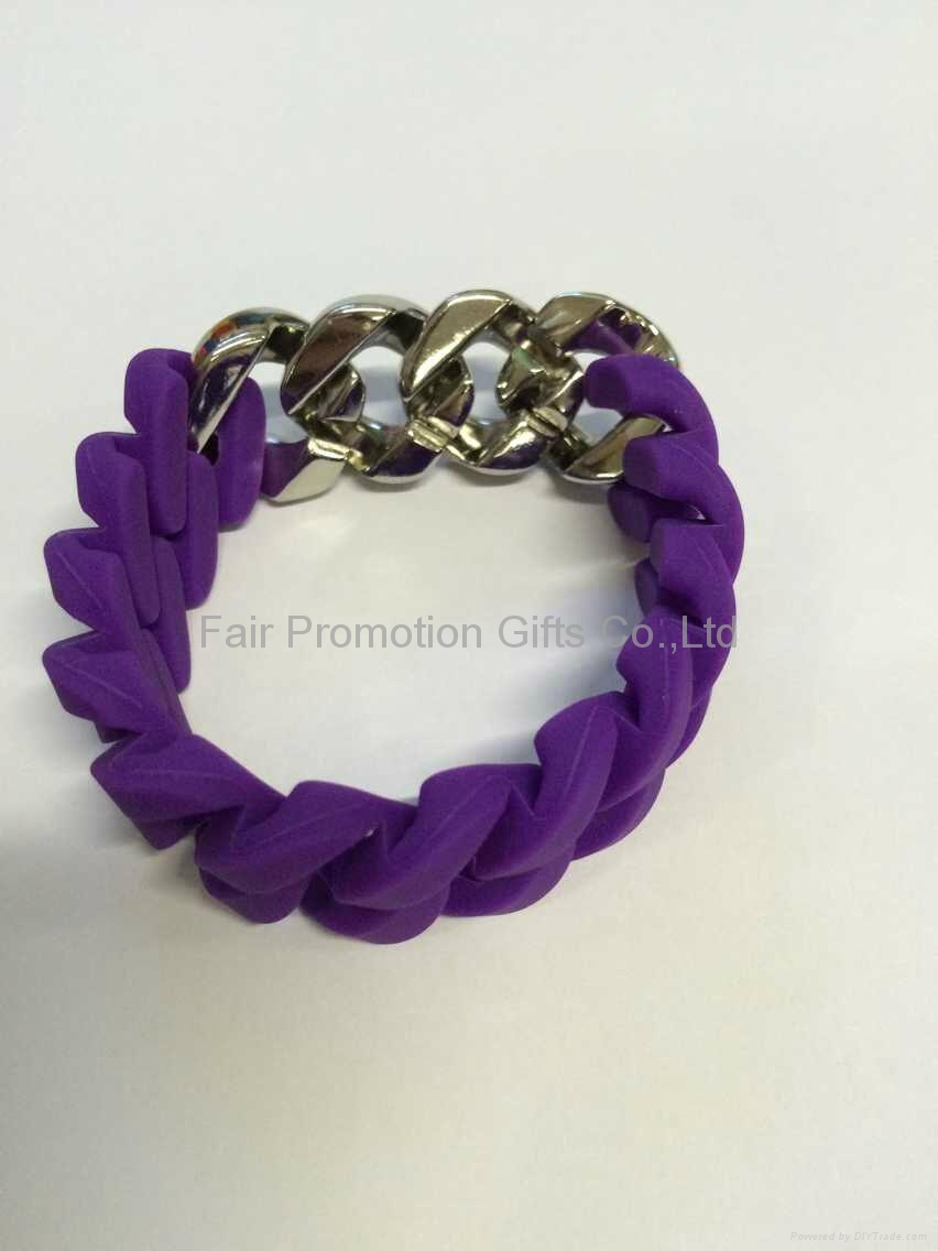 Hemp Flowers Silicone Wristbands with Link Chain  10