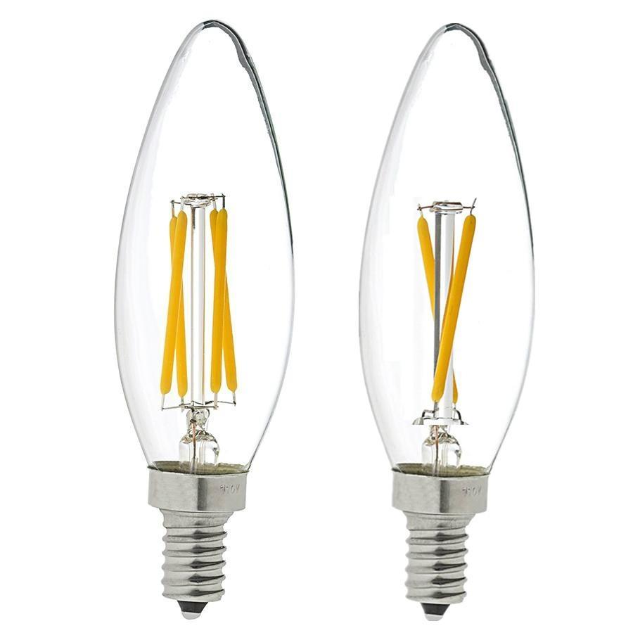 CE/RoHs listed C35 E12/E14/E17 4W dimmable led filament candle LED bulb 2