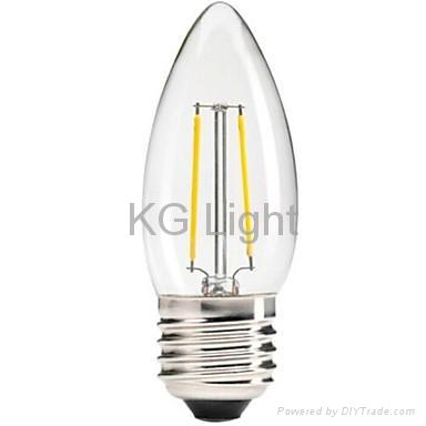 CE/RoHs listed C35 E12/E14/E17 4W dimmable led filament candle LED bulb 3