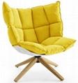 Hot fiberglass shell and fabric cushion modern husk chair
