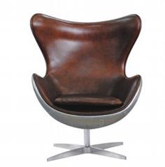 Industrial fiberglass furniture Aluminium egg shaped chairs livingroom chair