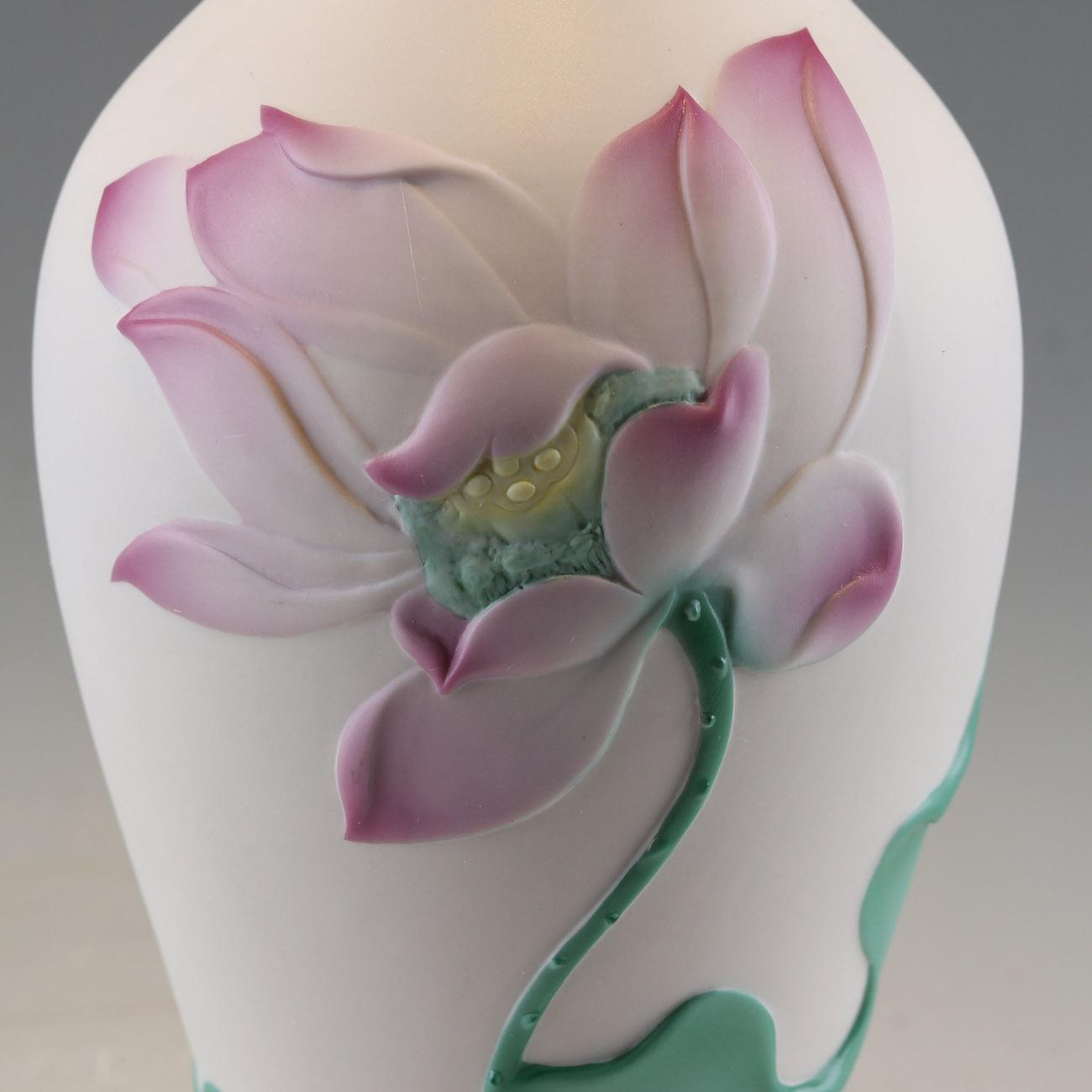 供应陶瓷莲花花瓶中式家居装饰品 2