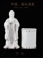 供應陶瓷描金孔子筆筒孔聖套裝