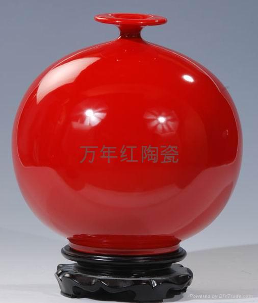 供應紅瓷花瓶萬年紅陶瓷德化紅瓷天地方圓 1