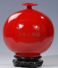 供应红瓷花瓶万年红陶瓷德化红瓷天地方圆