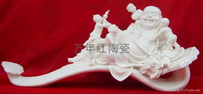 供应陶瓷雕佛像五子登科 1