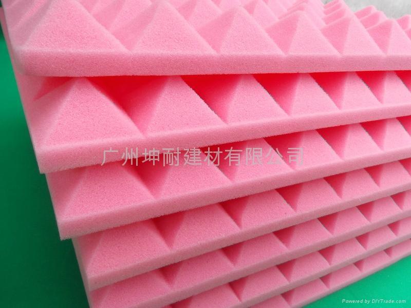 广州坤耐吸回音杂音材料,环保粉红色金字塔海绵,异型海棉 2