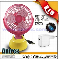 "6"" 2in1 Desk & Clip USB FAN"
