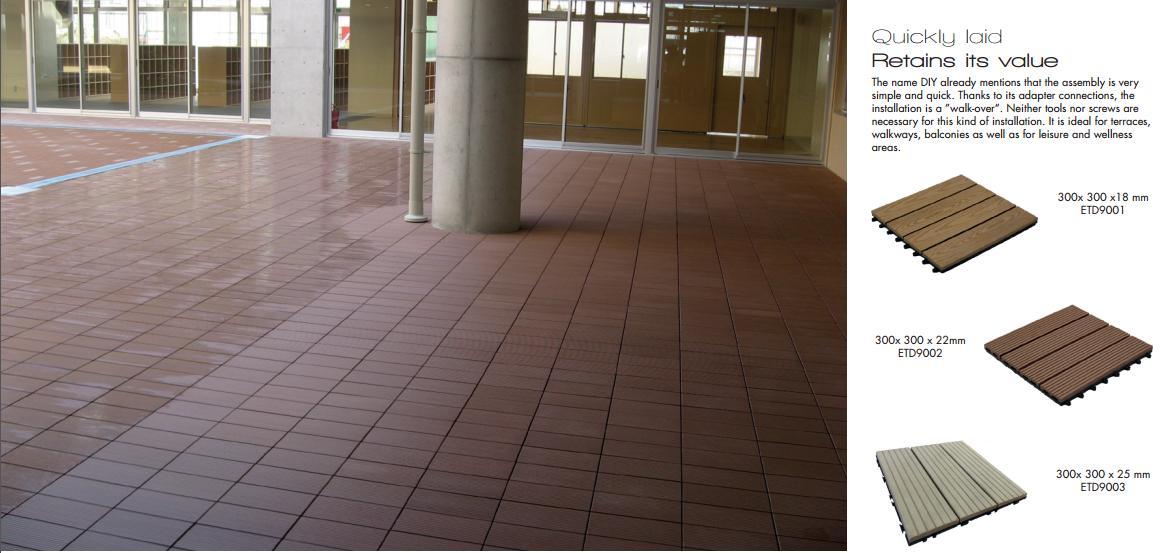 WPC Decking Fake/Artificial Grass Decking Tile 1