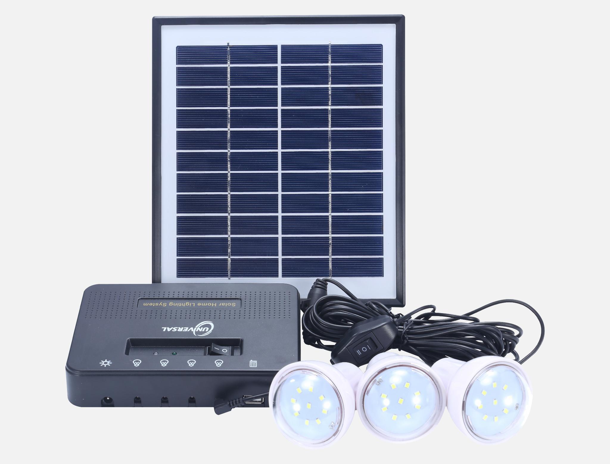 8W Solar Home Lighting Kit - 4 bulbs