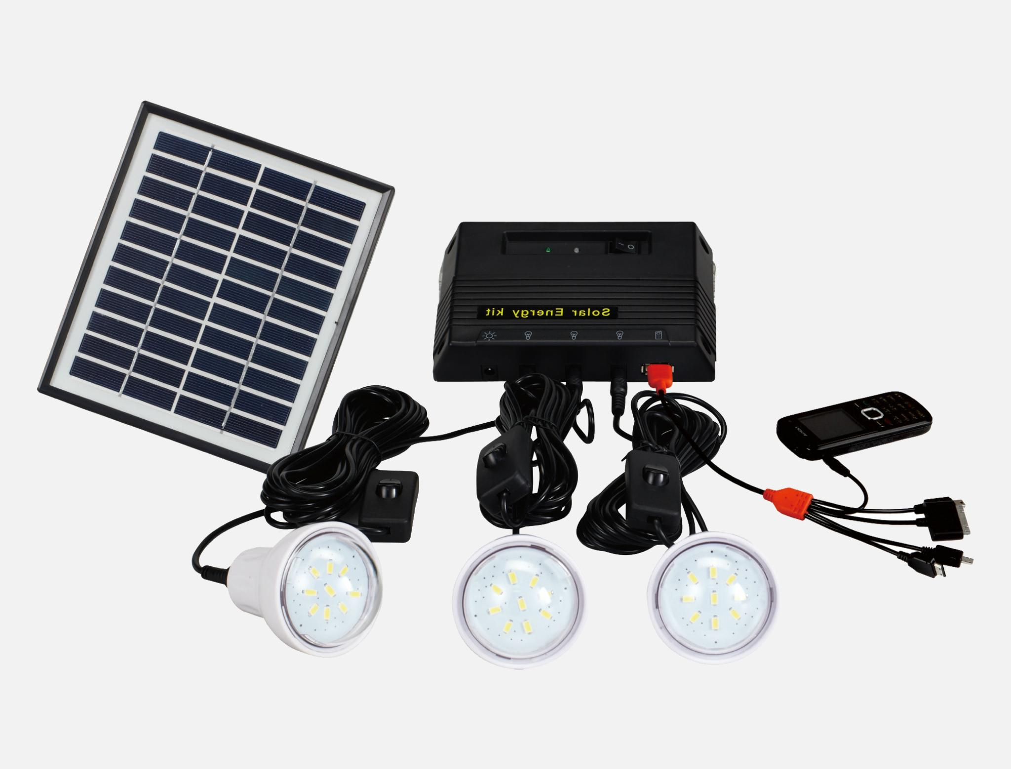 4W Solar Home Lighting Kit - 3 bulbs 1