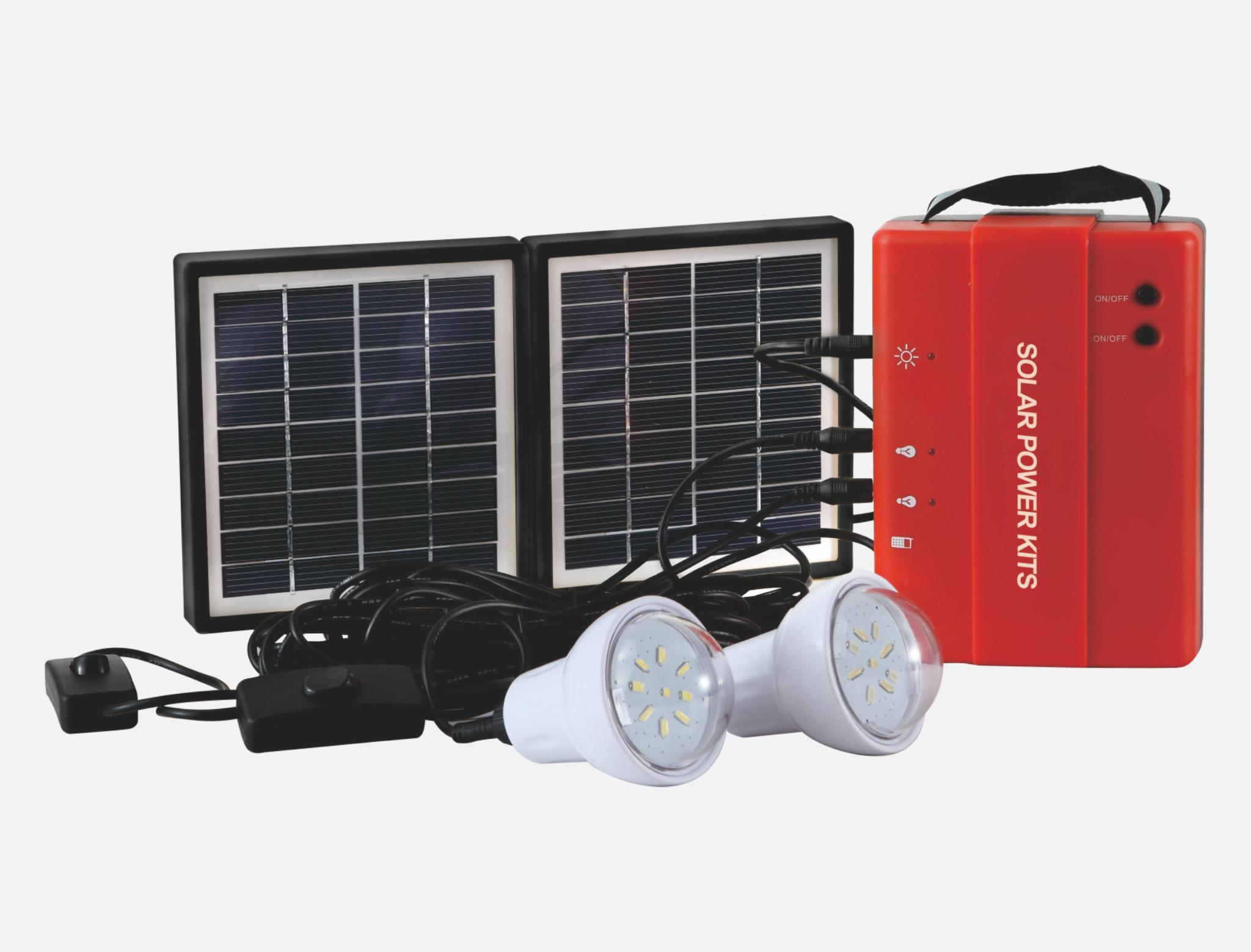 1.7W Solar Lighting Kit - 2 bulbs 1