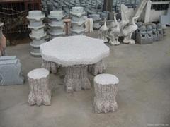 石雕樹墩形圓桌,動物石雕桌凳椅