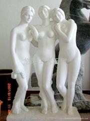 漢白玉石雕三美神