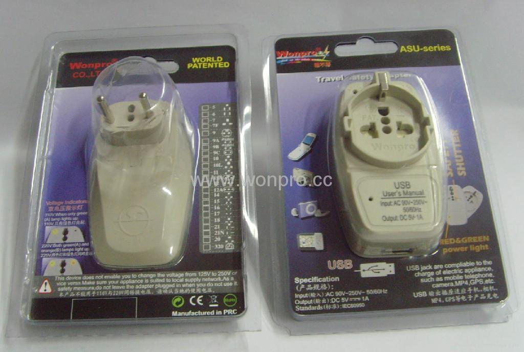 County Euro type Universal Travel Adapter with USB charger(WASGFDBUvs series) 5