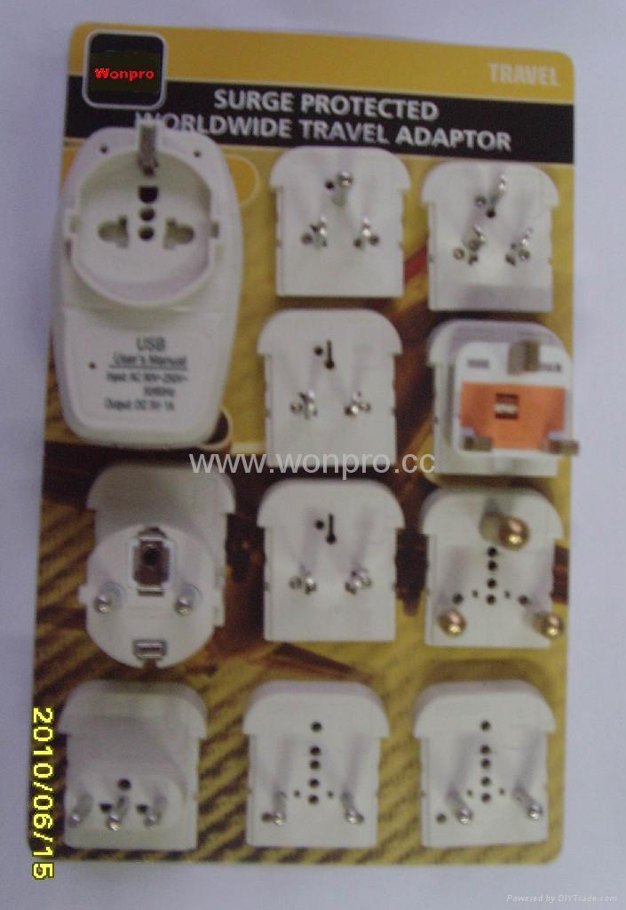 Euro type Universal Travel Adapter Kit w/ built-in USB charger(ASTGFDBU-P10vs) 2