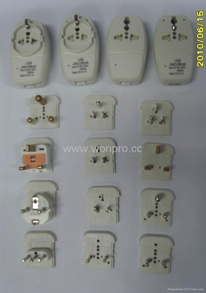 Euro type Universal Travel Adapter Kit w/ built-in USB charger(ASTGFDBU-P10vs) 5