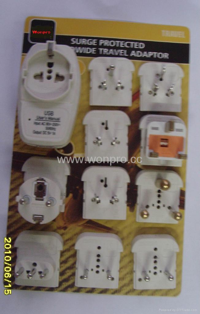 欧洲通旅游转换器组带USB充电(ASTGFDBU-P10) 2