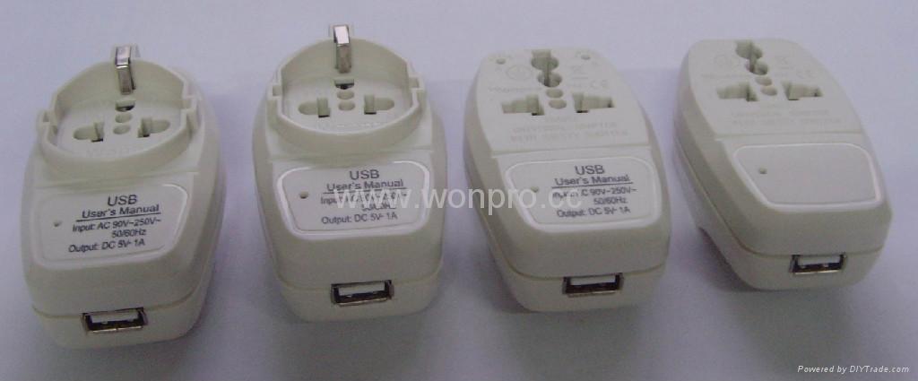 欧洲通旅游转换器组带USB充电(ASTGFDBU-P10) 3