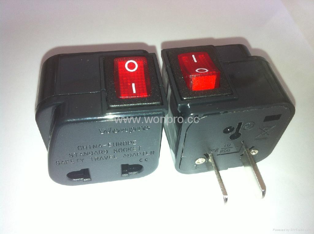 中日美式插头转中欧插座附开关带灯转换器(WSA6B-6-BK) 1