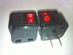 中日美式插頭轉中歐插座附開關帶燈轉換器(WSA6B-6-BK)