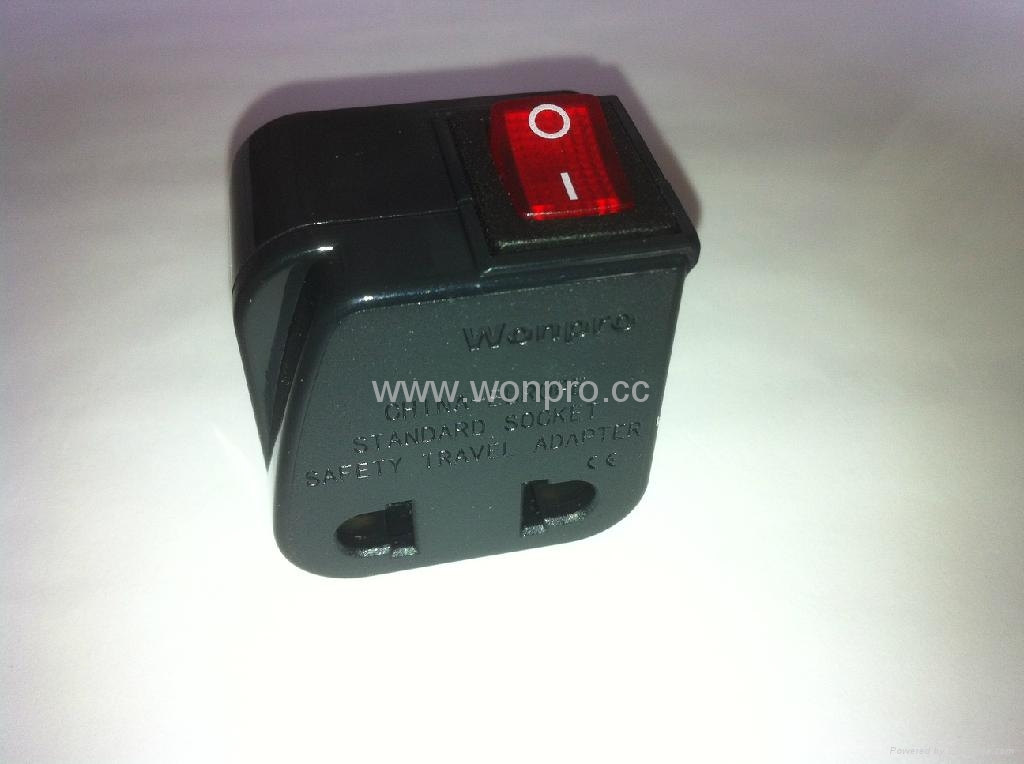 中日美式插头转中欧插座附开关带灯转换器(WSA6B-6-BK) 2