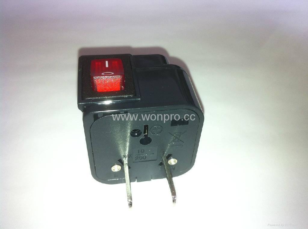 中日美式插头转中欧插座附开关带灯转换器(WSA6B-6-BK) 3