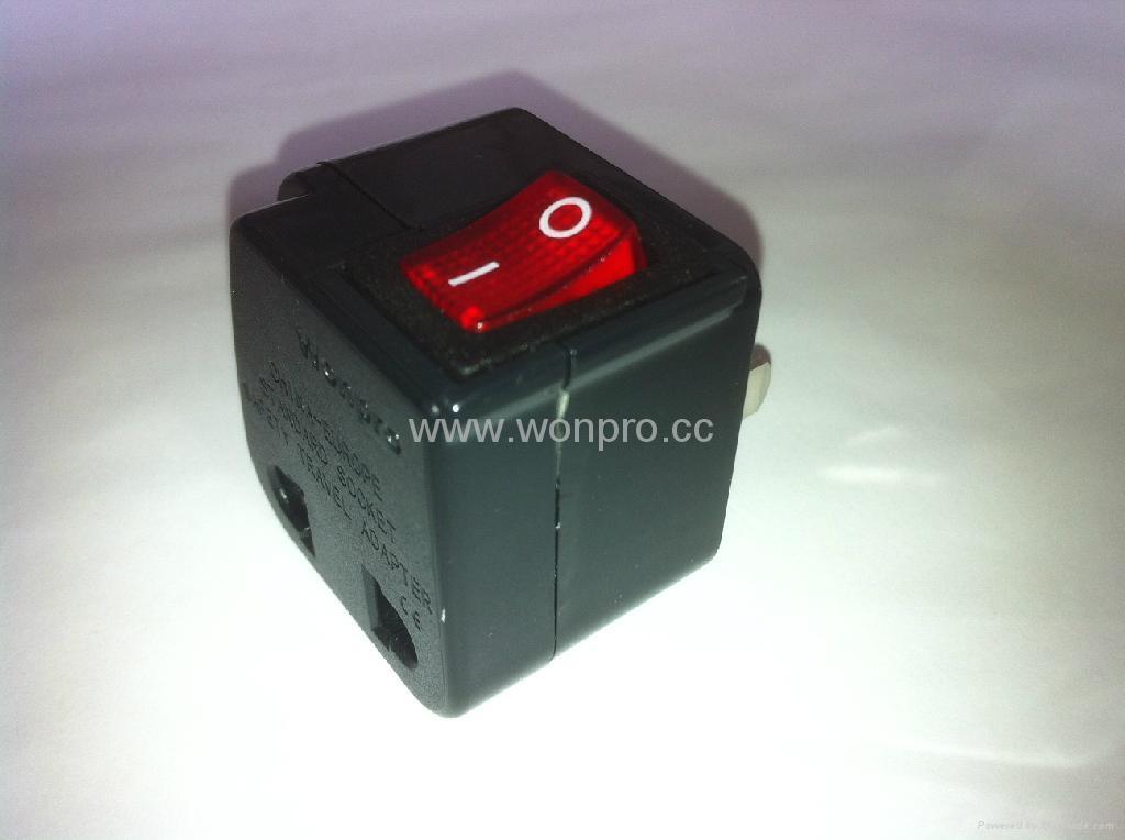 中日美式插头转中欧插座附开关带灯转换器(WSA6B-6-BK) 4