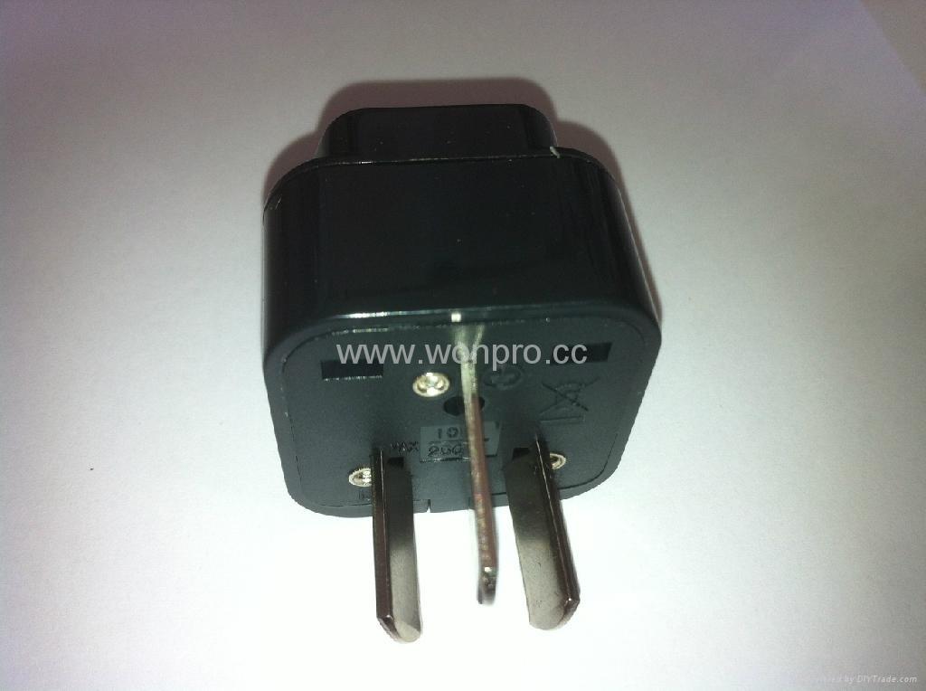 中澳洲式插头转中欧插座转换器(WA6B-16-BK) 4