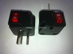中澳洲式插头转英标插座附开关带灯转换器(WSA7-16-BK)