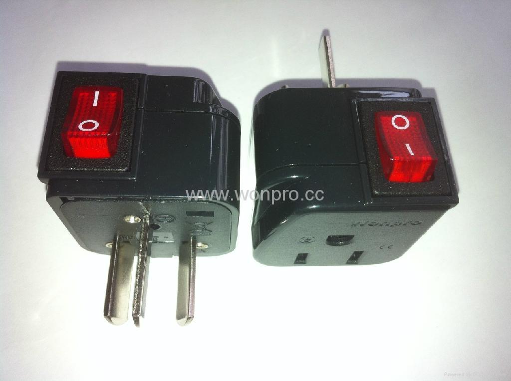 中澳洲式插头转美标插座附开关带灯转换器(WSA5A-16-BK) 1