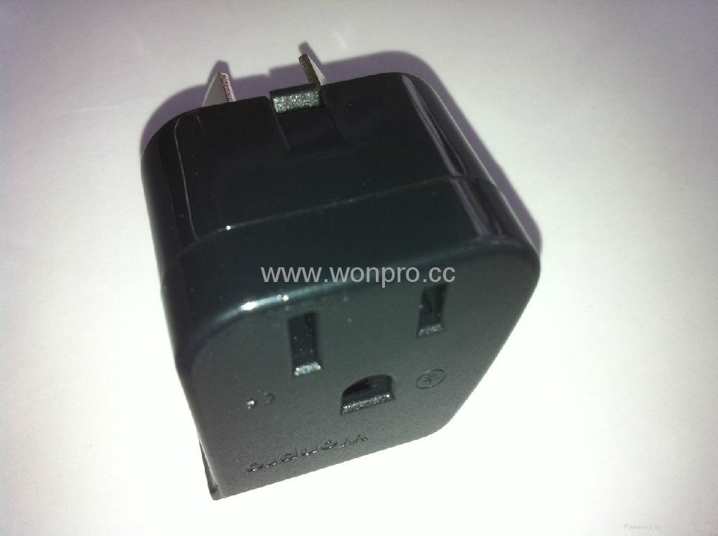 中澳洲式插头转美标插座附开关带灯转换器(WSA5A-16-BK) 5